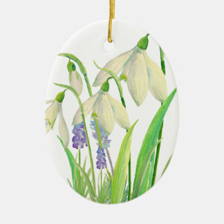 Watercolor Snowdrops and Muscari Christmas Ornament