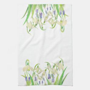 Watercolor Snowdrops and Muscari Tea Towel
