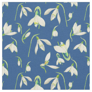 Watercolor Snowdrops Pattern Fabric