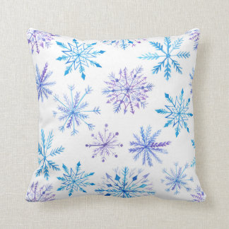 Watercolor Snowflake Throw Pillow