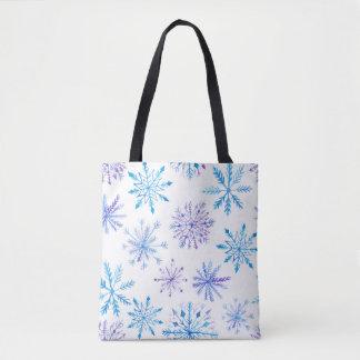 Watercolor Snowflakes Tote Bag