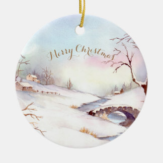 Watercolor Snowy Bridge Landscape Painting Christmas Ornament