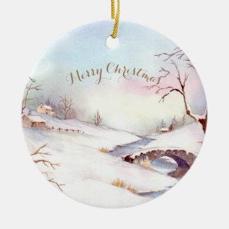Watercolor Snowy Bridge Landscape Painting Christmas Ornament