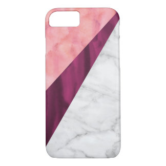 Watercolor soft pink and lilac with fake marble iPhone 8/7 case
