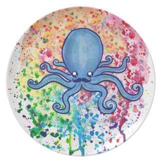 Watercolor Spatter Mustache Octopus Plate