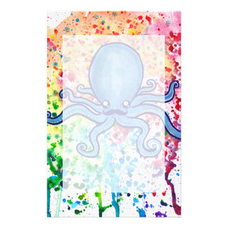 Watercolor Spatter Mustache Octopus Stationery