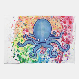 Watercolor Spatter Mustache Octopus Tea Towel