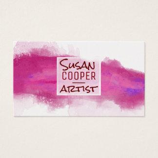 Watercolor Splash Alizarin Crimson and ROSE Design Business Card