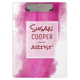 Watercolor  Splash Rose Madder & Crimson Clipboard