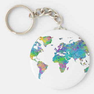 Watercolor Splashes World Map Basic Round Button Key Ring