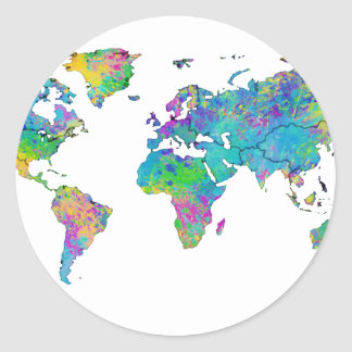 Watercolor world map stickers zazzle watercolor splashes world map classic round sticker gumiabroncs Gallery