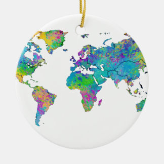 Watercolor Splashes World Map Round Ceramic Decoration