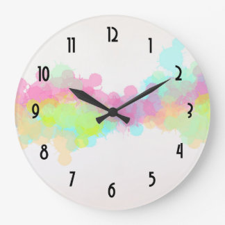 Watercolor Splatter Colorful Abstract Design Large Clock