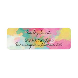 watercolor splatter cursive trendy address label