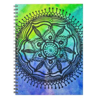 Watercolor Splatter Mandala Notebook. Spiral Notebook