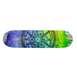Watercolor Splatter Mandala Skateboard | Megaflora