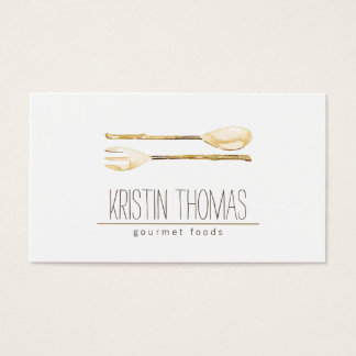 Watercolor Spoon and Fork Catering Business Card