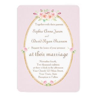 Watercolor Spring Floral Gold Wedding Invitation