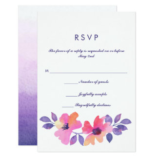 Watercolor Spring Floral Wedding RSVP Card