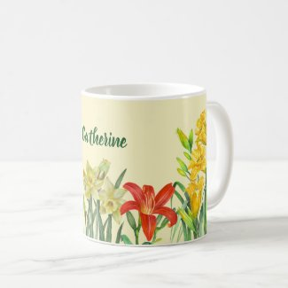 Watercolor Spring Flowers Botanical Illustration Coffee Mug