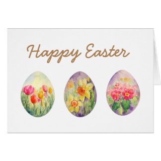 Watercolor Spring Flowers Easter Egg Greeting Card