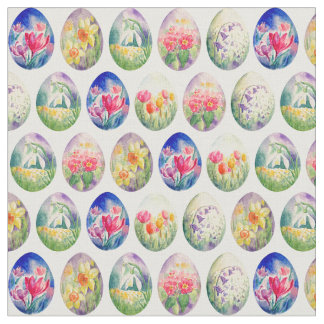 Watercolor Spring Flowers Easter Eggs Fabric