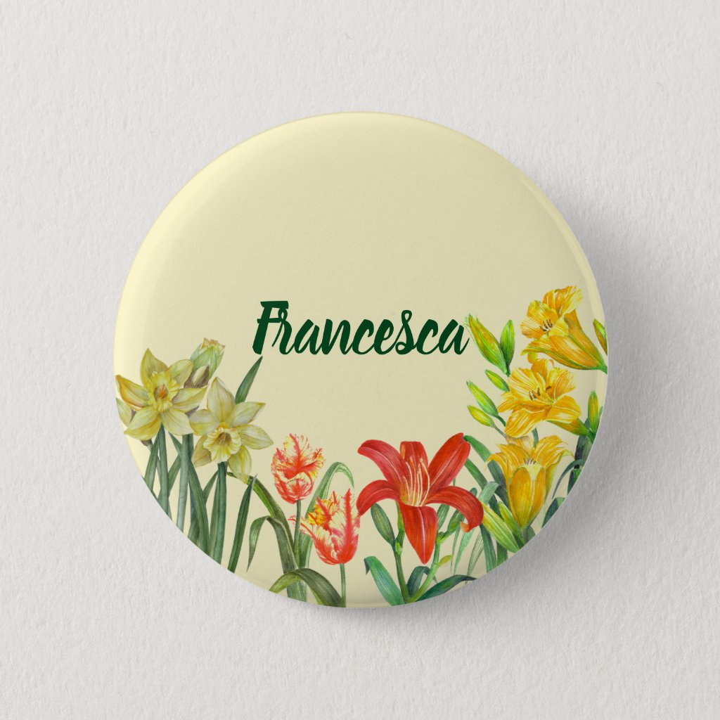 Watercolor Spring Flowers Floral Illustration 6 Cm Round Badge