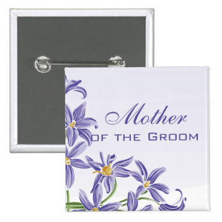 Watercolor Spring Flowers Mother of the Groom 15 Cm Square Badge