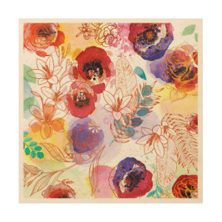 Watercolor Spring Flowers Wood Wall Art