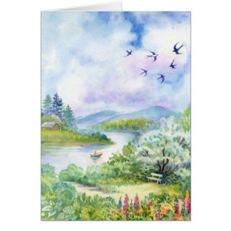 Watercolor Spring Scene Note Card