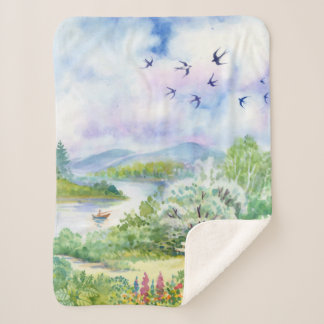 Watercolor Spring Small Sherpa Fleece Blanket