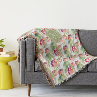 Watercolor Spring Tulips with Custom Monogram Throw Blanket