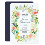 Watercolor Spring Wreath Bridal Shower Invitation