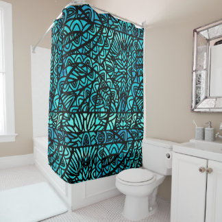 Watercolor Stained Glass Abstract Pattern Aqua Shower Curtain