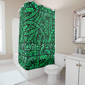 Watercolor Stained Glass Abstract Pattern Green Shower Curtain
