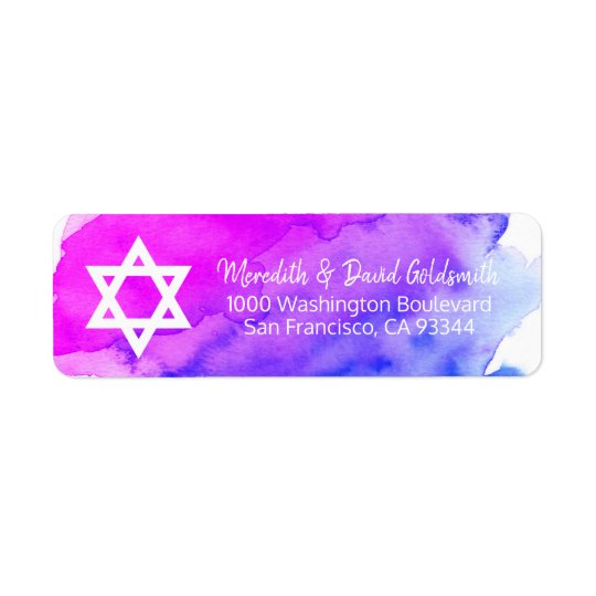 Watercolor Star of David Bat Mitzvah Return