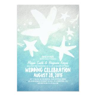 watercolor starfish blue beach wedding invitations