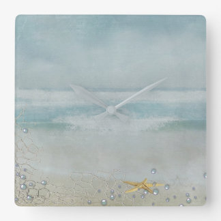 watercolor starfish on beach square wall clock