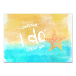 Watercolor Starfish Will You Be My Bridesmaid Card