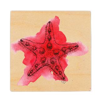 Watercolor Starfish Wood Coaster