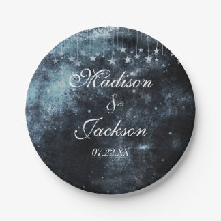 Watercolor Starry Night Celestial Wedding Monogram Paper Plate