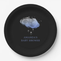 Watercolor Stars Night Sky Boy Baby Shower Paper Plate