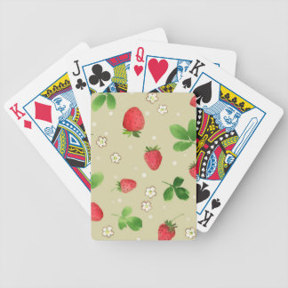 Watercolor strawberries pattern bicycle playing cards