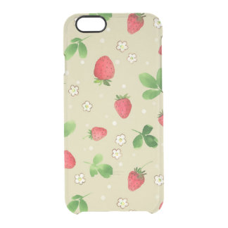Watercolor strawberries pattern clear iPhone 6/6S case