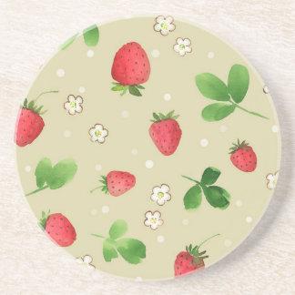 Watercolor strawberries pattern coaster