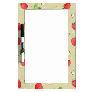 Watercolor strawberries pattern dry erase board