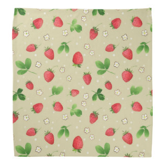 Watercolor strawberries pattern head kerchiefs