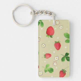 Watercolor strawberries pattern key ring