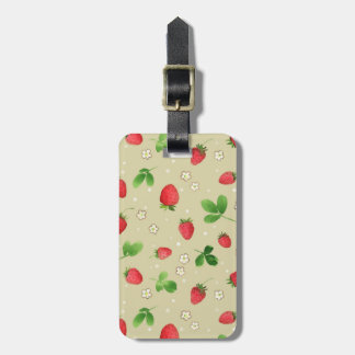 Watercolor strawberries pattern luggage tag
