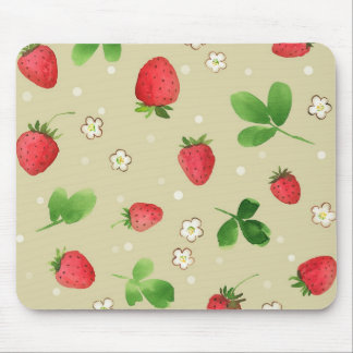 Watercolor strawberries pattern mouse mat